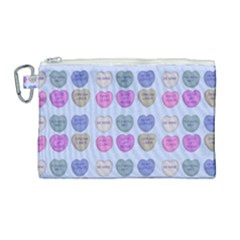 Valentine Hearts Blue Canvas Cosmetic Bag (large) by snowwhitegirl