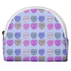 Valentine Hearts Blue Horseshoe Style Canvas Pouch