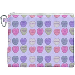 Valentine Hearts Lilac Canvas Cosmetic Bag (xxxl)