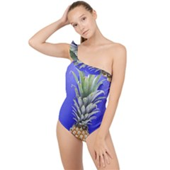 Pineapple Blue Frilly One Shoulder Swimsuit