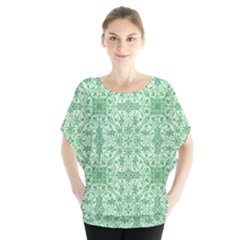 Ornamental Green Batwing Chiffon Blouse