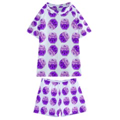 Kawaii Grape Jam Jar Pattern Kids  Swim Tee And Shorts Set by snowwhitegirl