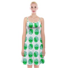 Kawaii Lime Jam Jar Pattern Spaghetti Strap Velvet Dress