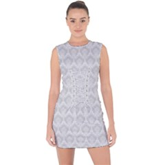 Damask Grey Lace Up Front Bodycon Dress