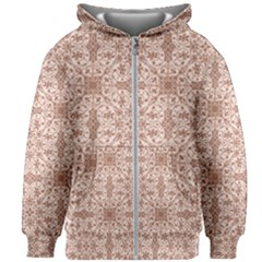 Ornamental Brown Kids Zipper Hoodie Without Drawstring