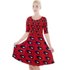 Eyes Red Quarter Sleeve A Line Dress