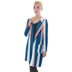 Blue Pink White Hooded Pocket Cardigan