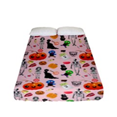 Halloween Treats Pattern Pink Fitted Sheet (full/ Double Size)