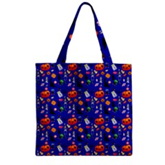 Halloween Treats Pattern Blue Zipper Grocery Tote Bag