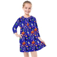 Halloween Treats Pattern Blue Kids  Quarter Sleeve Shirt Dress by snowwhitegirl