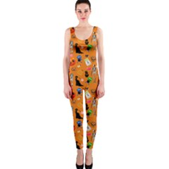 Halloween Treats Pattern Orange One Piece Catsuit