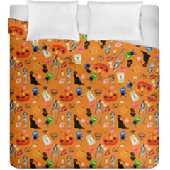 Halloween Treats Pattern Orange Duvet Cover Double Side (king Size) by snowwhitegirl
