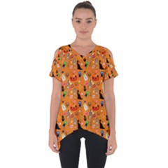 Halloween Treats Pattern Orange Cut Out Side Drop Tee