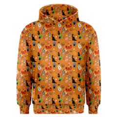 Halloween Treats Pattern Orange Men s Overhead Hoodie