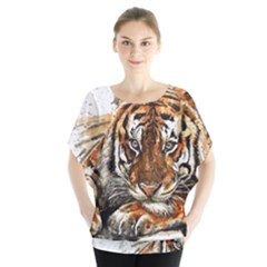 Tiger Sign Batwing Chiffon Blouse