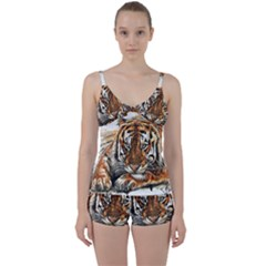 Tiger Sign Tie Front Two Piece Tankini