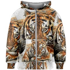 Tiger Sign Kids Zipper Hoodie Without Drawstring