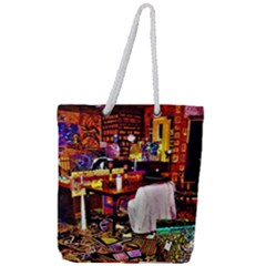 Painted House Full Print Rope Handle Tote (large)