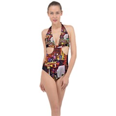 Painted House Halter Front Plunge Swimsuit