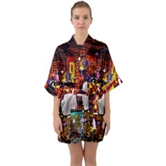 Painted House Quarter Sleeve Kimono Robe