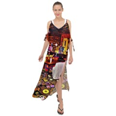 Painted House Maxi Chiffon Cover Up Dress