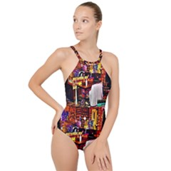 Painted House High Neck One Piece Swimsuit