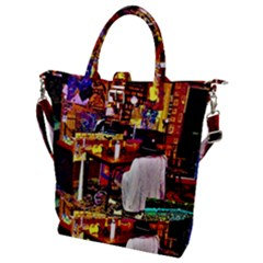 Painted House Buckle Top Tote Bag