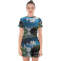 Landscape 1 Drop Hem Mini Chiffon Dress