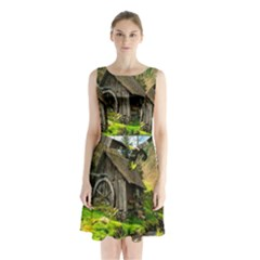 Landscape # 3 The Shed Sleeveless Waist Tie Chiffon Dress