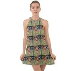 Vintage Posters 1 Halter Tie Back Chiffon Dress