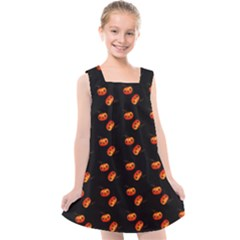 Kawaii Pumpkin Black Kids  Cross Back Dress