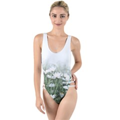 Daisy White Flower Field And Light Blue Sky High Leg Strappy Swimsuit