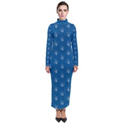 Quebec French Royal Fleur De Lys Elegant Pattern Blue Blue Quebec Fleur De Lys Pattern Blue Turtleneck Maxi Dress by Quebec