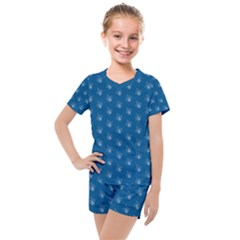 Quebec French Royal Fleur De Lys Elegant Pattern Blue Blue Quebec Fleur De Lys Pattern Blue Kids  Mesh Tee And Shorts Set