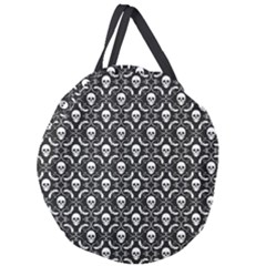 Pattern Skull And Bats Vintage Halloween Black Giant Round Zipper Tote