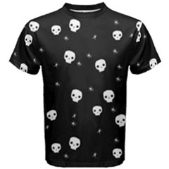 Pattern Skull Stars Halloween Gothic On Black Background Men s Cotton Tee