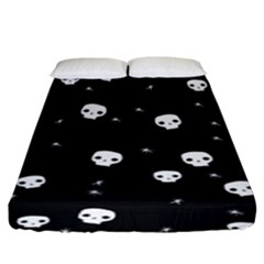 Pattern Skull Stars Halloween Gothic On Black Background Fitted Sheet (king Size) by genx
