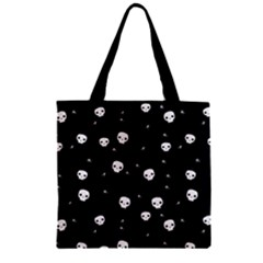 Pattern Skull Stars Halloween Gothic On Black Background Zipper Grocery Tote Bag