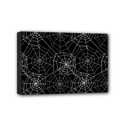 Pattern Spiderweb Halloween Gothic On Black Background Mini Canvas 6  X 4  (stretched)