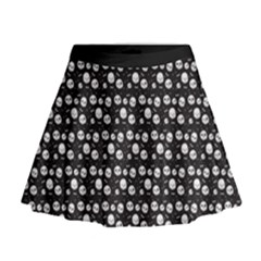 Pattern Skull Bones Halloween Gothic On Black Background Mini Flare Skirt