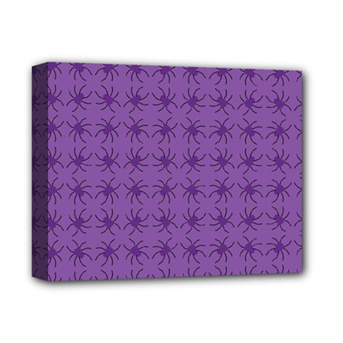 Pattern Spiders Purple And Black Halloween Gothic Modern Deluxe Canvas 14  X 11  (stretched)
