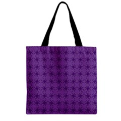 Pattern Spiders Purple And Black Halloween Gothic Modern Zipper Grocery Tote Bag by snek