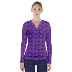 Pattern Spiders Purple And Black Halloween Gothic Modern V Neck Long Sleeve Top