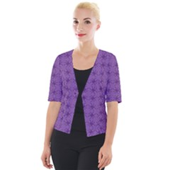 Pattern Spiders Purple And Black Halloween Gothic Modern Cropped Button Cardigan