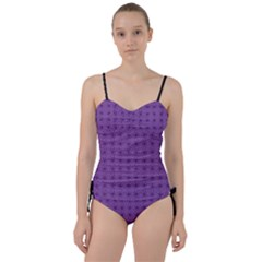 Pattern Spiders Purple And Black Halloween Gothic Modern Sweetheart Tankini Set