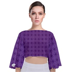 Pattern Spiders Purple And Black Halloween Gothic Modern Tie Back Butterfly Sleeve Chiffon Top