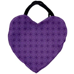 Pattern Spiders Purple And Black Halloween Gothic Modern Giant Heart Shaped Tote by snek