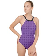 Pattern Spiders Purple And Black Halloween Gothic Modern High Neck One Piece Swimsuit by genx