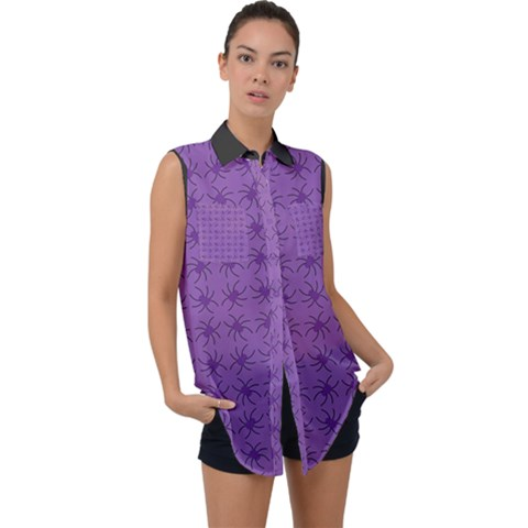Pattern Spiders Purple And Black Halloween Gothic Modern Sleeveless Chiffon Button Shirt by genx