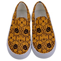 Pattern Pumpkin Spider Vintage Halloween Gothic Orange And Black Kids  Canvas Slip Ons
